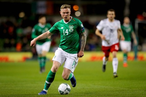 Aiden O'Brien playing for Ireland in a European Championship qualifier against Georgia in March 2019.