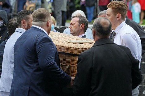 The coffin of CervicalCheck campaigner Ruth Morrissey at Mary Magdalene Church, Monaleen, Co Limerick today.