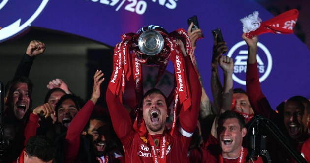 Liverpool lift Premier League trophy on night of celebration at Anfield