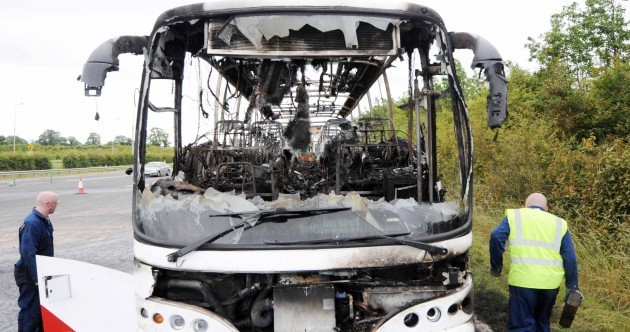In pictures: Bus bursts into flames on the M1