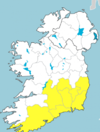 Status Yellow rainfall warning issued for eight counties as spot flooding expected