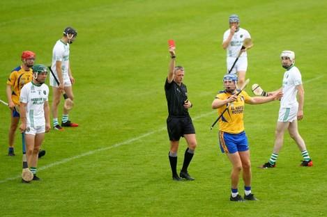 Referee Shane Hynes dismisses Joe Canning.