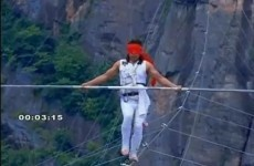 VIDEO: Tightrope walker survives after falling hundreds of feet from wire