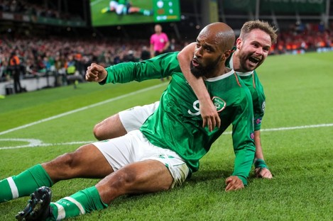 Men's International Player of the Year nominee David McGoldrick celebrates his late European qualifier equaliser against Switzerland with Alan Judge.