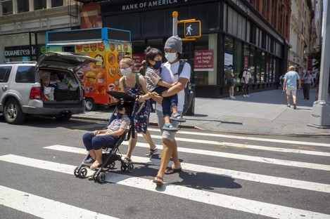 People in New York today. The city was initially hit hardest by the pandemic.