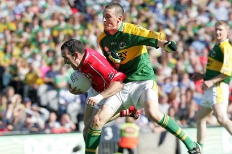 Kieran Donaghy in action against Kieran O'Connor.