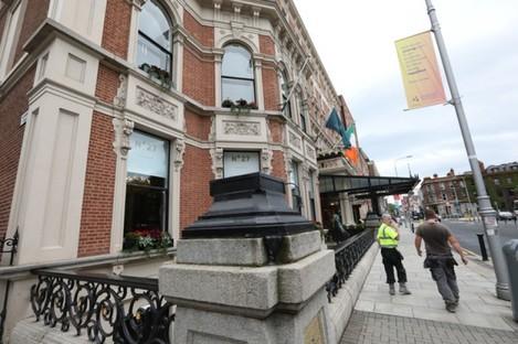An empty plinth outside the Shelbourne Hotel in Dublin.