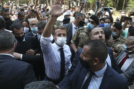 French President Emmanuel Macron pictured in Beirut today.