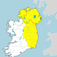 Status Yellow thunder warning for Leinster and Ulster counties