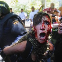 In photos: Six demonstrators hospitalised after Madrid clashes
