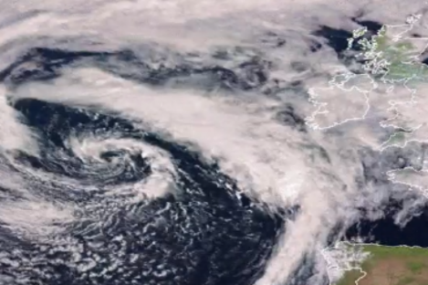 A satellite image showing the position of the storm.