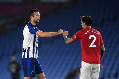 Shane Duffy with Victor Lindelof after Brighton's Premier League game against Manchester United in June.