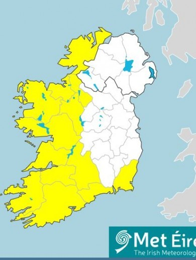 Status Yellow warnings issued as 'intense rainfall' expected on Tuesday