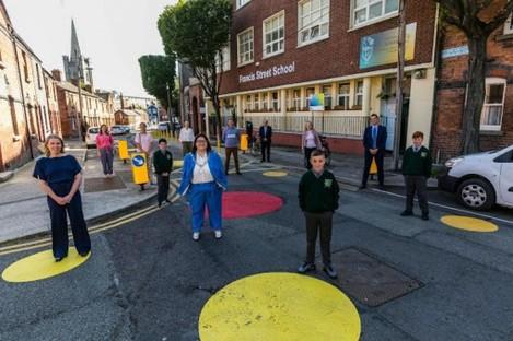 Dublin Lord Mayor Hazel Chu launching St. Francis CBS School Zone. A partnership between Dublin City Council, Green-Schools and the National Transport Authority