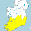 Status Yellow rainfall warning in place for 12 counties from 1am