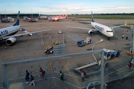 File. Ryanair flights at Stansted.