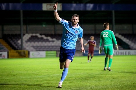 Ciaran Kilduff celebrates scoring for Shelbourne.