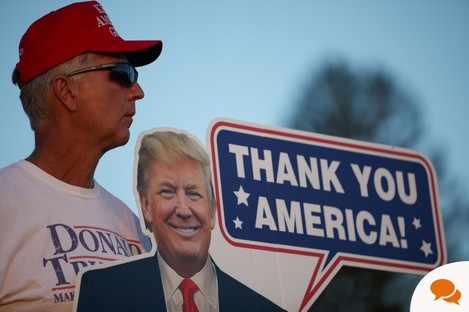 August 28, 2020, Londonderry, New Hampshire, USA: Supporters watch Trump speak with a cardboard cutout of him.