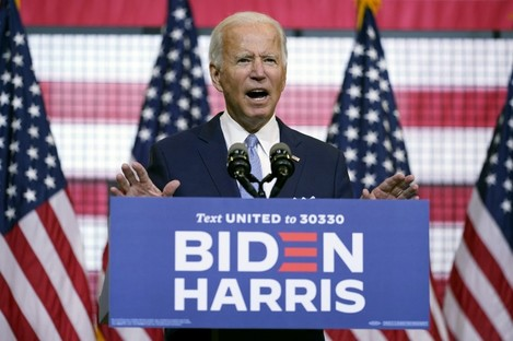 Joe Biden speaking at a campaign event in Pittsburgh.