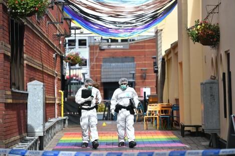 Police forensic officers in Hurst Walk in Birmingham