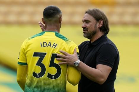 Norwich City's manager Daniel Farke with Adam Idah (file pic).