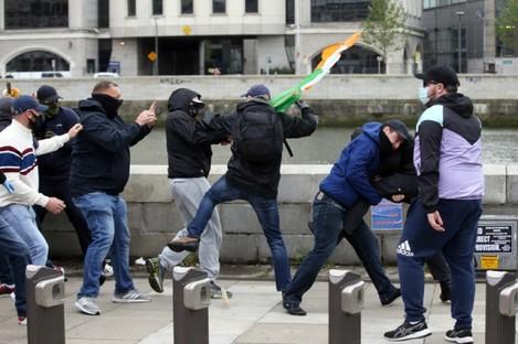 Protesters clash in Dublin.