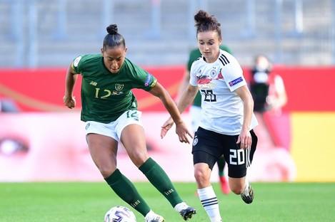 Ireland's Rianna Jarrett with Germany's Lina Magull.
