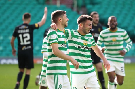Ryan Christie celebrates after his goal for Celtic.