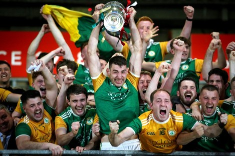 Padraig McNulty and his team celebrate their Tyrone senior final win.