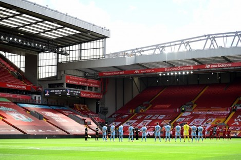 A view of Anfield stadium, the home ground of English Premier League champions Liverpool.