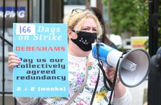 Former Debenhams staff protest at KPMG as packers move in at a number of stores