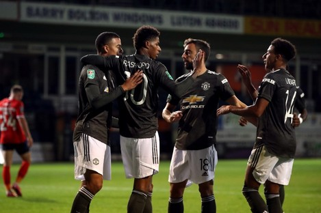 Marcus Rashford celebrates scoring United's second goal.