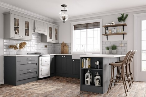 The Augusta kitchen in Light and Dust Grey tones