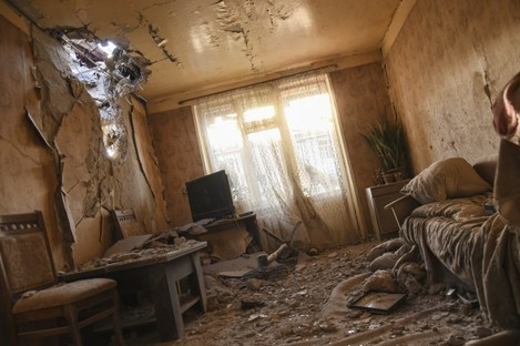 Damage inside an apartment in a residential area after shelling in self-proclaimed Republic of Nagorno-Karabakh