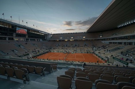 The Court Phillippe Chatrier at Roland Garros during the 2020 French Open.
