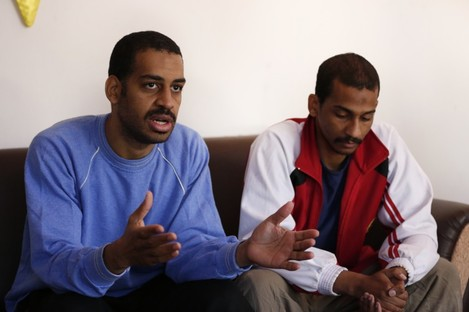 Alexanda Kotey, left, and El Shafee Elsheik in an interview at a security centre in Syria in 2018.