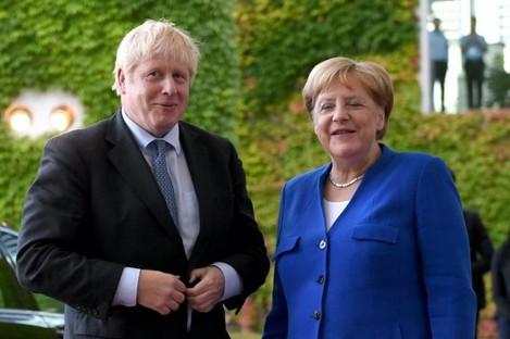 Boris Johnson and Angela Merkel.