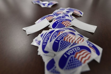 A pile of 'I voted' stickers in the US.