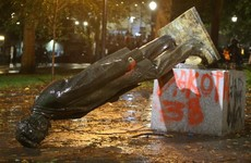 Statues of Roosevelt and Lincoln toppled during Columbus Day protests in the US