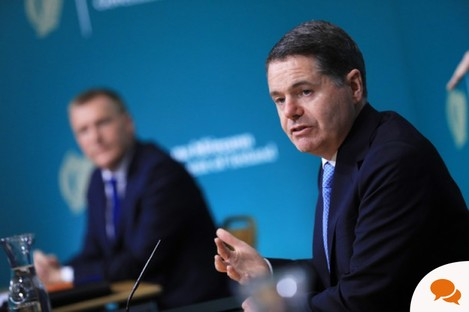Government Buildings, Dublin. Minister for Finance Paschal Donohoe and Minister for Public Expenditure and Reform, Michael McGrath on budget day.