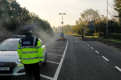 A garda checkpoint in Bridgend as part of efforts to monitor public health compliance.