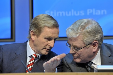 Taoiseach and Fine Gael leader Enda Kenny with Tanaiste and Minister for Foreign Affairs Eamon Gilmore at the Government's briefing on the Infrastructure Stimulus package