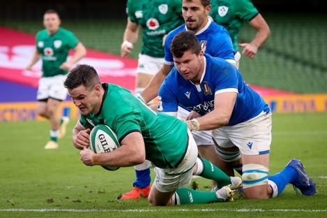 Sexton celebrates his try, one of seven Ireland scored today.
