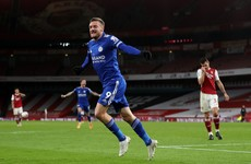 Late Vardy strike delivers first Leicester league win at Arsenal in 47 years