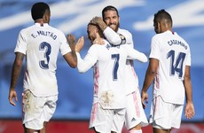 Hazard scores first goal in over a year as revived Real Madrid thump Huesca