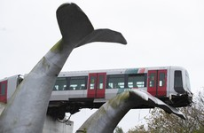 Whale sculpture stops Dutch train plummeting off platform