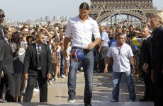 I'm here! Ibrahimovic hits Paris with Eiffel Tower parade
