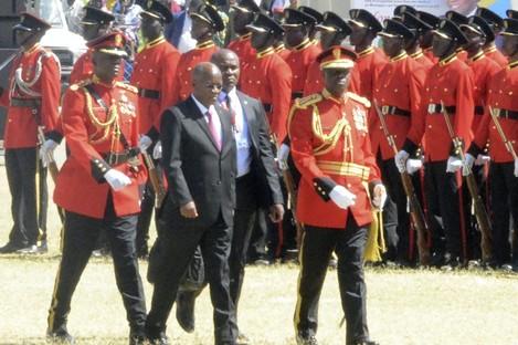 President John Magufuli at  his swearing-in ceremony.