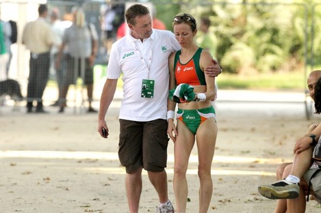 Support: Jones consoles Olive Loughnane at the 2010 European Championships in Barcelona.
