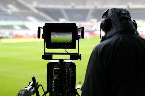 A general view of the TV cameras before a recent Premier League match at St James' Park, Newcastle.